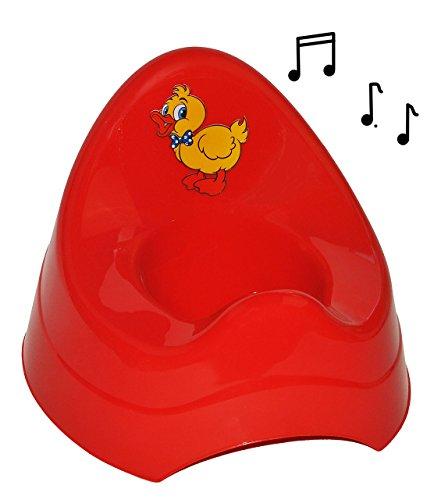 alles-meine.de GmbH Töpfchen / Nachttopf - mit Musik / Sound - groß - mit großer Lehne + Spritzschutz -  Ente - rot  - Babytöpfchen / Kindertopf / Lerntöpfchen - Toilettentrain..