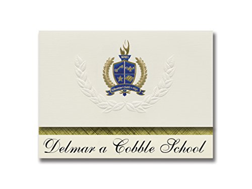 Signature Announcements Delmar a Cobble School (Columbia, MO), Abschluss-Ankündigung, Presidential Style, Elite Paket mit 25 Stück, mit Gold & Blau Metallic Folien-Siegel