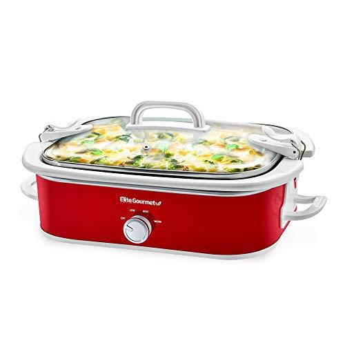 Elite Gourmet Casserole Crock Slow Cooker, Locking Lid Adjustable Temperature Oven & Dishwasher-Safe Casserole Pan, 3.5Qt Capacity, Red