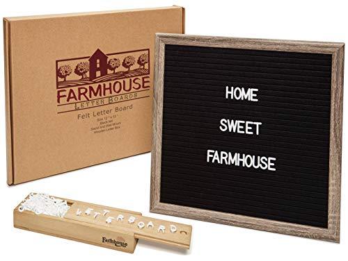 Briefablage – Premium veränderbare Filz-Briefablage, 30,5 x 30,5 cm, rustikaler Holzrahmen, 330 Nachrichtenbrett-Zeichen, Holzbrieftafel, Aufbewahrungsbox, Wandhalterung und Rückständer.
