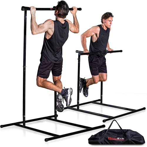 MaxiGym Portable Pull Up Bar [2021 Version] - Mobile Free-Standing Pull Up Bar for Workout on the Go - Quick Assembly No Tools Required - Freestanding Pullup & Dip Stand For Calisthenics