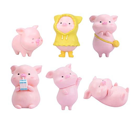 IMIKEYA Glücksschweinchen Figuren Mini Schweinchen Glücksbringer Puppenstuben Zubehör, zufälliges Muster