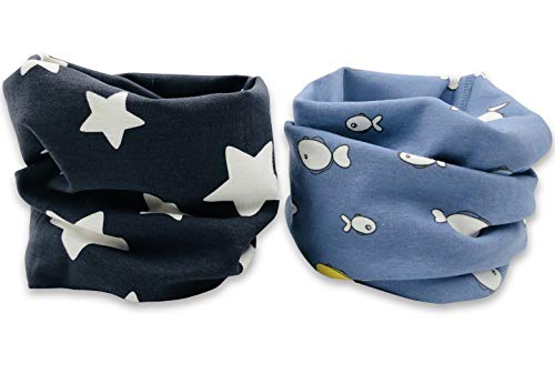 JC & CH 2 pcs Kids Cotton Neck Gaiter Face Mask Bandana Balaclava Scarf Breathable for Sports & Outdoor (Charcoal Star/Blue Fish)