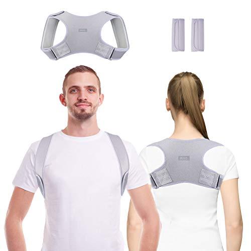 YSKJ Rücken Geradehalter Haltungskorrektur Rückenstütze Rückentrainer Schultergurt Haltungstrainer Posture Corrector für Nacken Rücken Schulterschmerzen für Herren und Damen Lendenwirbelstütze grau