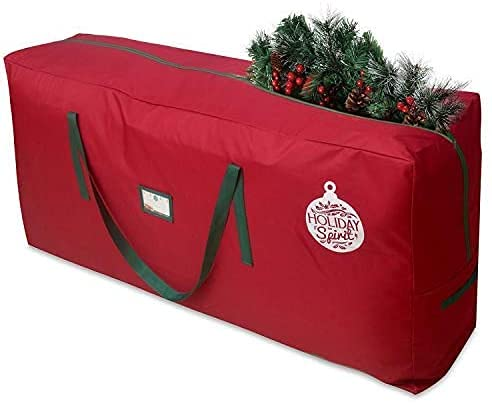 HOLIDAY SPIRIT Christmas Tree Storage Bag For Trees. Heavy-Duty 600D Oxford Material With Durable Reinforced Handles & Zipper, Waterproof Material Protects from Moisture & Dust (Red, Fits a 9FT Tree)