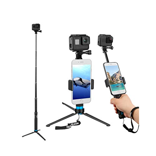 TELESIN 35.5' Selfie Stick Monopod Compatible with GoPro, Selfie Pole with Strong Tripod Mount...