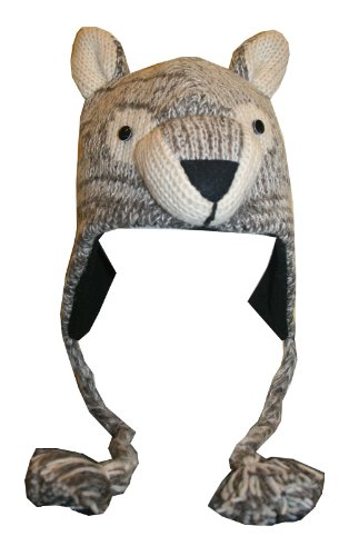 66 H Adult Wool Fleece Lined Trapper Beanie Cap Animal Hat (One Size, Wolf)