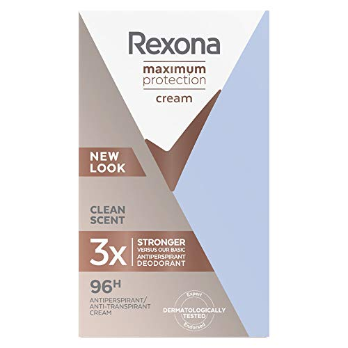 Rexona Maximum Protection Crema Antitranspirante Clean Scent, 45ml - Pack de 3