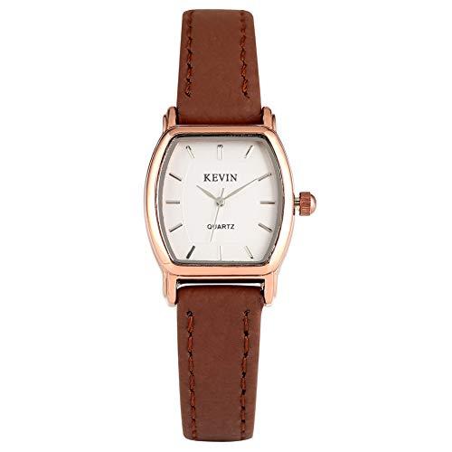 Kevin Klassische kleine weiße Zifferblatt Quarzuhr für Frauen, praktisch keine Ziffern Uhren für Frau, massives Lederband mit Dornschließe Armbanduhr Geschenk für Mutter