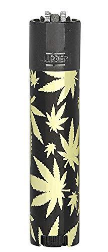 HIBRON Clipper 1 Encendedor Mechero Clásico Largo Metal Golden Leaves Negro-Dorado Diseño Hoja de Marihuana Y 1 Llavero Gratis