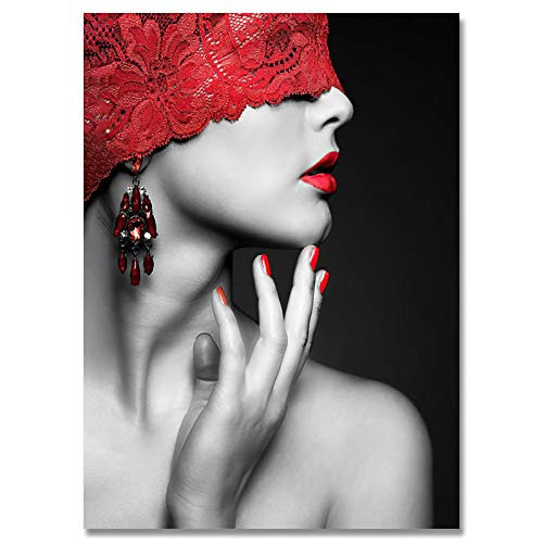 Moderna Sexy Red Lip Lace Mask Donna Tela Pittura Stampe Nordic Stampa Wall Art Poster per Living Room Decor 20x30cm/7,8'x11.8 Senza Cornice