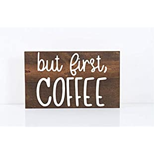76DinahJordan But First Coffee Sign Coffee Signs Rustic Coffee Signs Farmhouse Coffee Rustic Kitchen Signs Coffee Bar Signs Wood Coffee Sign Coffee Decor:Cryptools