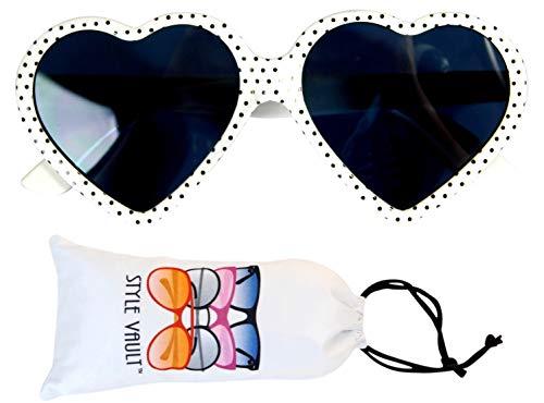 Style Vault Kd3141 Unisex Sonnenbrille für Babys und Kleinkinder, Alter 0–36 Monate, Herzform, Weiá (Polka Dots Weiß), X-Small