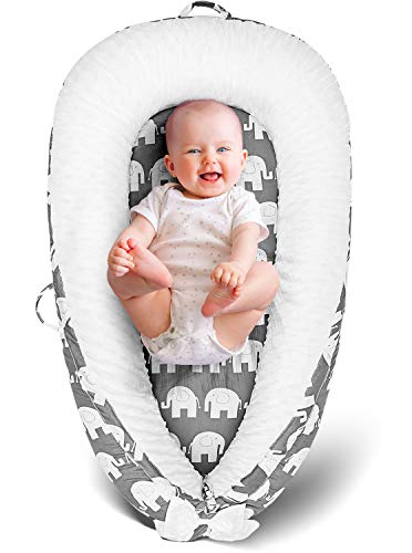 HelloLove Baby Lounger Nest Newborn Infant Baby Bed Deluxe Large Portable Pillow Organic Machine...
