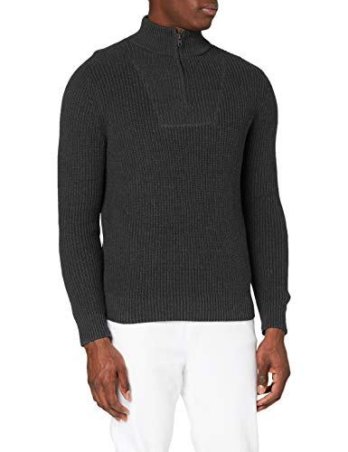 Amazon-Marke: MERAKI Herren Pullover mit Reißverschluss, Grau (Charcoal Melange Charcoal Melange), XL, Label: XL