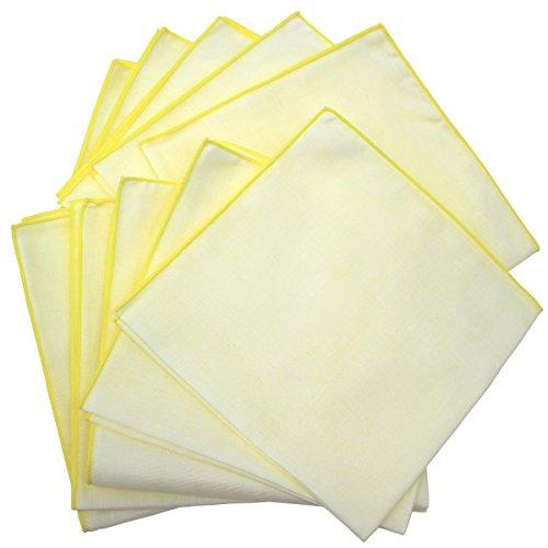 Fluffy(フラフィ) 中判カラー 二重合 ガーゼハンカチ イエロー 10枚セット 日本製 綿100% 無地 35×35cm
