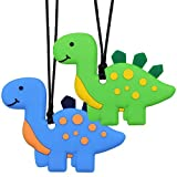Sensory Chew Necklace for Kids, Boys, and Girls - 2 Pack Dinosaur Silicone Baby Teether Toys for Teething, Autism, Biting, ADHD, SPD, Chewy Oral Motor Chewing Toy Jewelry for Adults