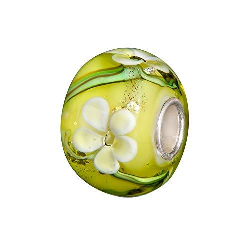 Andante-Stones 925 Sterling Silber Glas Bead Charm Sealife (Gelbgrün mit gelb-weißen Blumen) Element Kugel für European Beads + Organzasäckchen