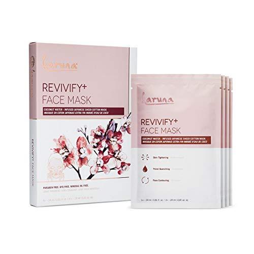 Karuna Revivify+ Facial Sheet Mask Box, Coconut Water Infused Japanese Sheer Cotton Sheet Mask, 4 Count