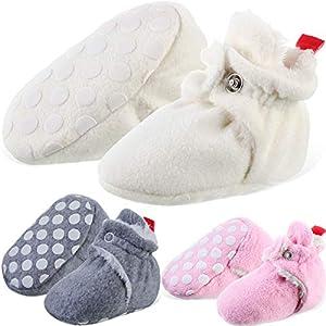 3 Pares Patucos de Lana de Bebé de Invierno Zapatos Unisexos Cómodos de Niños Pequeños Zapatos de Recién Nacido de Lana Cálida con Pinzas