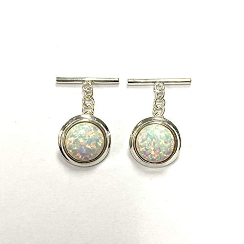 Vintage Style Round White Gilson Opal Cufflink 925 Sterling Silver Mens Gift