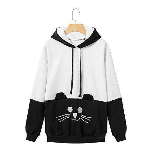 Tzzdwy Sudadera con Capucha Kawaii para Mujer Jersey De Manga Larga con Bordado De Gato De Cat Back Harajuku Jumper De Cola De Gato,White,XL