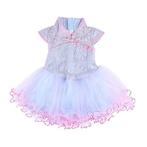 Tutu zomer baby meisjesjurk kant patroon borduurwerk baby meisjes jurk kinderen prinses tutu jurk tutu Medium blauw/roze.