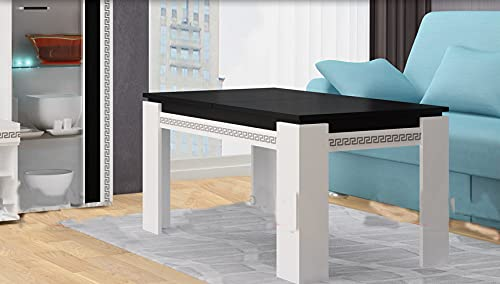 Tavolino da Salotto Tavolino Moderno Tavolino Salotto Mobili Soggiorno Tavolini da Salotto Mobile Soggiorno Tavolo Allungabile Tavolo Cucina Tavolo Legno Bianco e Nero TG5 (Piano Nero/Gambe BIanche)