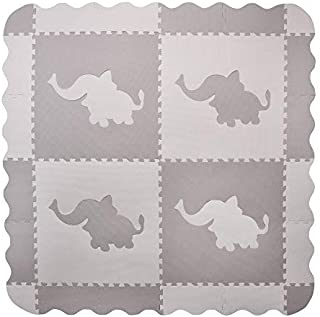 4 Large Interlocking Gray Foam Baby Play Mat with Elephants Tiles - Play Mats with Edges. Each Tile 24 x 24ins. Total 48 x 48in (Plus Edges)