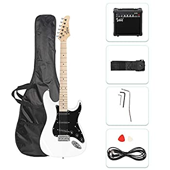 GLARRY Full Size Electric Guitar for Music Lover Beginner with 20W Amp and Accessories Pack Guitar Bag  White
