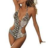 VODMXYGG Bikini Sets Acolchado Traje de baño Impresión Traje de baño Traje de baño de una Pieza con Estampado de Piel de Serpiente de Tirantes para Mujer