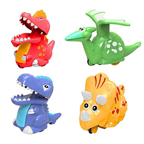 Jofan 4 Pack Dinosaur Toys Press and Go Dinosaur Cars Dinosaur Wind Up Toys for Kids Boys Toddlers Easter Basket Stuffers Fillers Dinosaur Party Supplies Favors