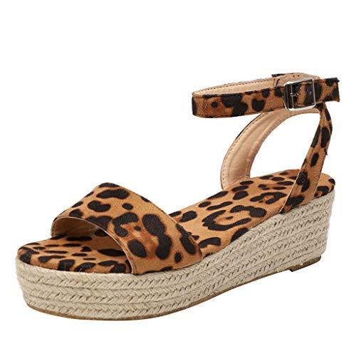 AIni Sandalias Mujer Verano Roman Paja Tejido Zapatos De CuñA con Altas Tacon 5cm Zapatillas Hebillas De Plataforma De Tejido Impermeable Planas Sandalias De Leopardo NegroDia De Miembro Oferta35-43