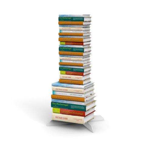 home3000 Bücherstapelregal freistehend mit unsichtbaren Bücherregalen 2-1er-Set variabel 2xklein und 1xgross in Weiss für ca. 115 cm Büchersäule