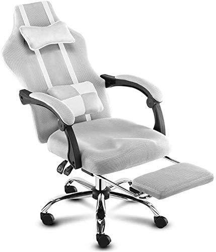 Gaming Chair, Ergonomische Büro Lehnstuhl höhenverstellbar Gemütlich Sitz 360 ° Rotation Bürostuhl (Color : Gray)
