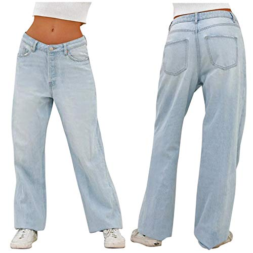 WAo Y2K - Pantalones vaqueros lisos para mujer con pierna ancha y ajuste relajado, pantalones casuales de cintura media