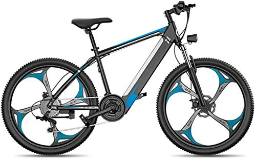 Electric Snow Bike, Electric Mountain Bike, 26-Inch Fat Tire Hybrid Bicycle Mountain E-Bike Full Suspension, 27 Speed Power System Mechanical Disc Brakes Lock Front Fork Shock Absorption Lithium Batte
