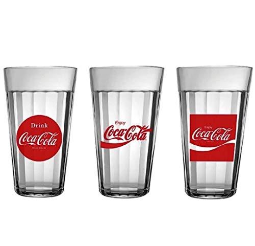 Jogo de Copos Americano Linha do Tempo Coca-cola 3 peças 450ml Nadir - Cristalino