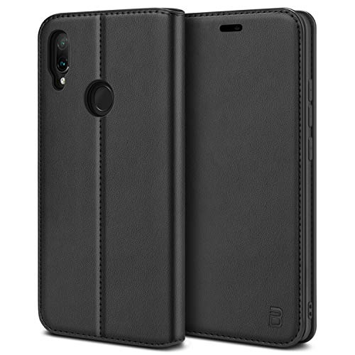 BEZ Xiaomi Redmi Note 7 Hülle, Handyhülle Premium Tasche Kompatibel für Xiaomi Redmi Note 7, Note 7s, Note 7 Pro Schutzhüllen aus Klappetui mit Kreditkartenhaltern, Ständer, Magnetverschluss, Schwarz