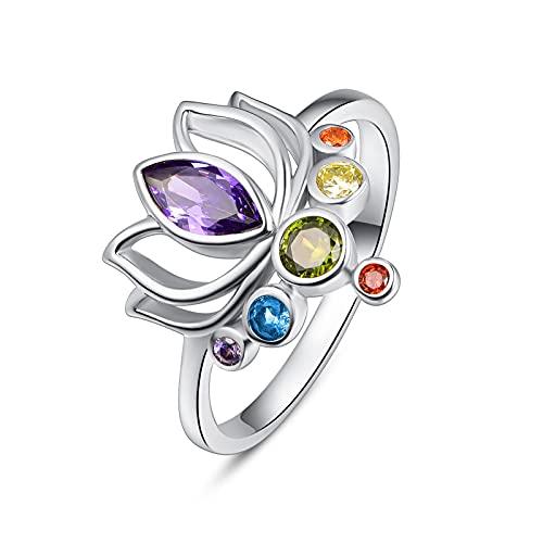 Anillo para pulgar de plata de ley 925 para mujer, diseño de flor de loto y chakra, tamaño Q, joyas para mujer y madre