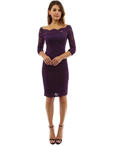 PattyBoutik Women Off Shoulder Floral Lace Twin Set Dress (Dark Purple Large)