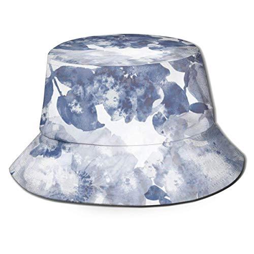 harry wang Sombrero de Pescador con Parte Superior Plana Transpirable Unisex Flores Azules