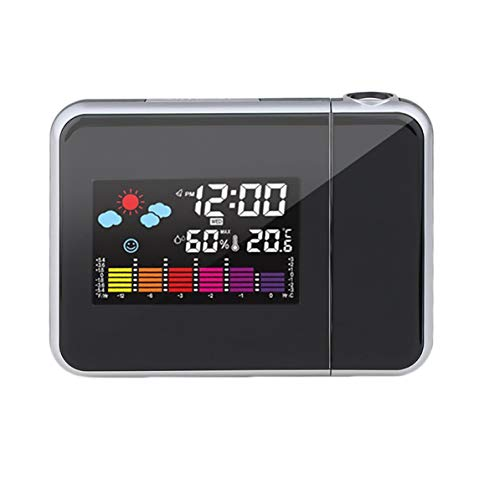 Monlladek Digital Projection Snooze Wecker Bunte LED-Anzeige Hintergrundbeleuchtung Lautlos Keine tickende Uhr Wetterstation Hausuhren (schwarz)