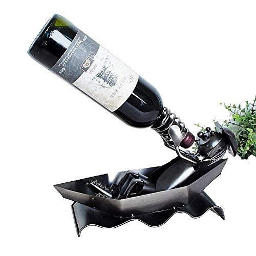 BRIGHTZ Bastidores creativas vino, artesanía de metal, decoraciones for el hogar, los gestos de beber, escultura titular de la botella de vino hecho a mano del vino de contenedores Decoración del arte