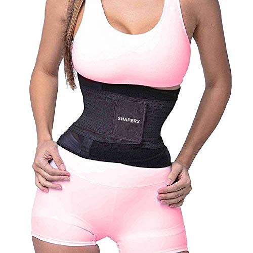 SHAPERX Women Waist Trainer Belt Waist Trimmer Slimming Body Shaper Hot Sweat Sports Girdles Workout Belt Weight Loss, SZ8001-Black-S
