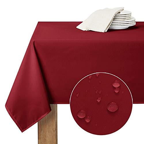 RYB HOME Nappes Etanche de Table - 150 x 260 cm, Rouge Bordeaux Rectangulaire Imperméable...