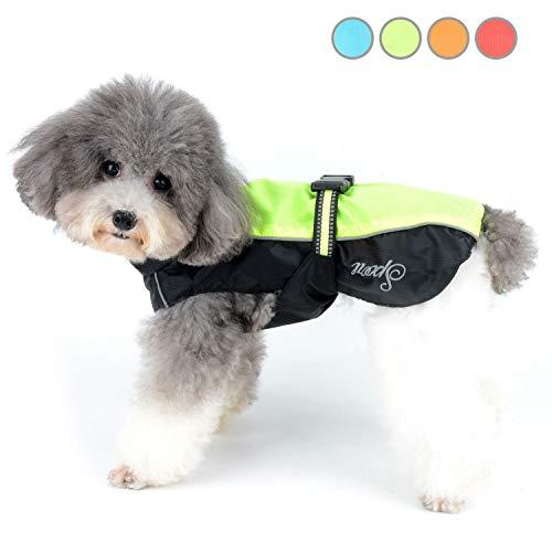 Zunea Regenmantel für kleine Hunde Wasserdicht Reflektierend Regenjacke Winddicht Leicht Netzfutter Regenschutz Welpen Kleidung für Jagd, Wandern, Chihuahua Bekleidung für nasse Tage Grün XXL
