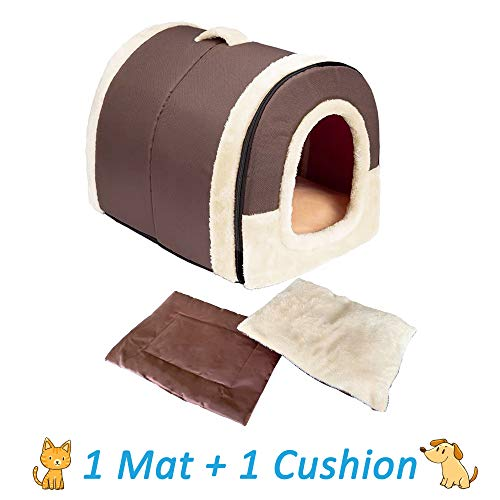 ANPI 2 in 1 Dog House Cat Igloo, Foldable Machine Washable Cat Bed Cave Non-Slip Soft Warm Pet Rabbit House Sofa with Detachable Cushion, 3 Sizes, Multicolour (Medium, Brown)