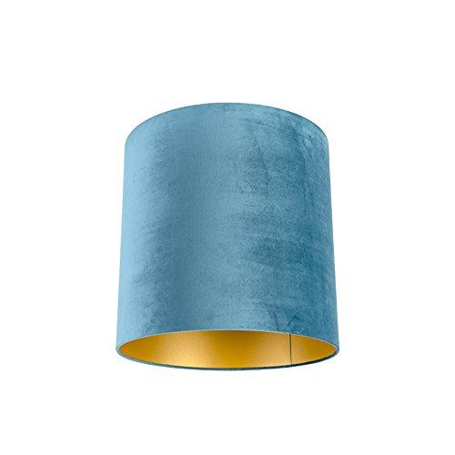 QAZQA Algodón Pantalla terciopelo azul 40/40/40 interior dorado, Redonda/Cilíndrica Pantalla lámpara colgante,Pantalla lámpara de pie