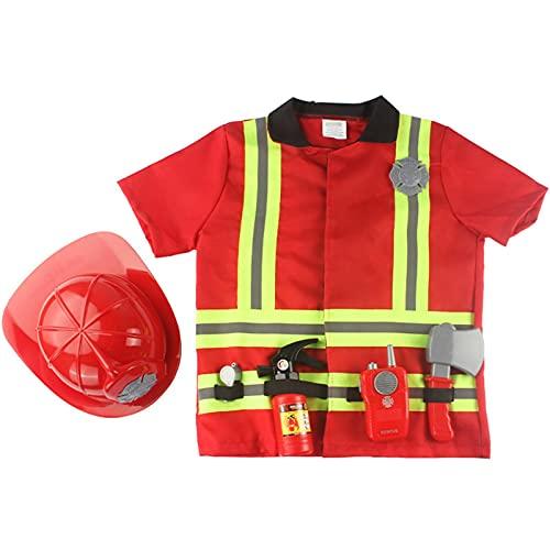 JINGLING Costume De Pompier pour Enfants Jeu De Rôle Pompier Fournitures De Fête De Pompier Cadeaux De Fête d'anniversaire De Camion De Pompier Jouets pour Enfants Garçons